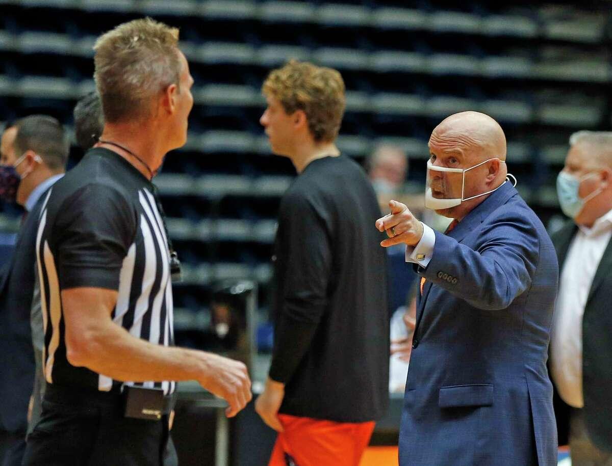 UTSA head coach Steve Henson shows his disagreement with a call. UTSA v North Texas at UTSA Convocation on Saturday, January 9, 2021. UTSA 77 North Texas 69