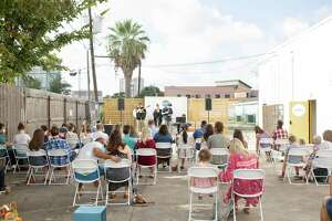 An outdoor service at Gather Church in Houston