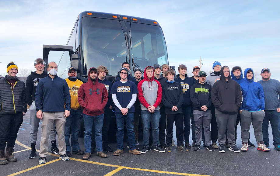 The community turned out in Kinde Saturday morning to wish the North Huron football team good luck as they headed to Portland for their state semifinal game against St. Patrick. Sadly, the Warriors' season came to an end with a 34-12 loss to the Shamrocks. Photo: North Huron Athletic Boosters