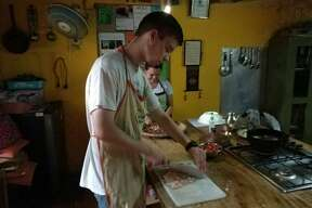 One of my favorite things to do is cook. I've become fond of cooking several recipes from pasta a la penne to my family's English pancake recipe. The picture above was taken in Nepal, while learning to cook momos, Nepali dumplings.