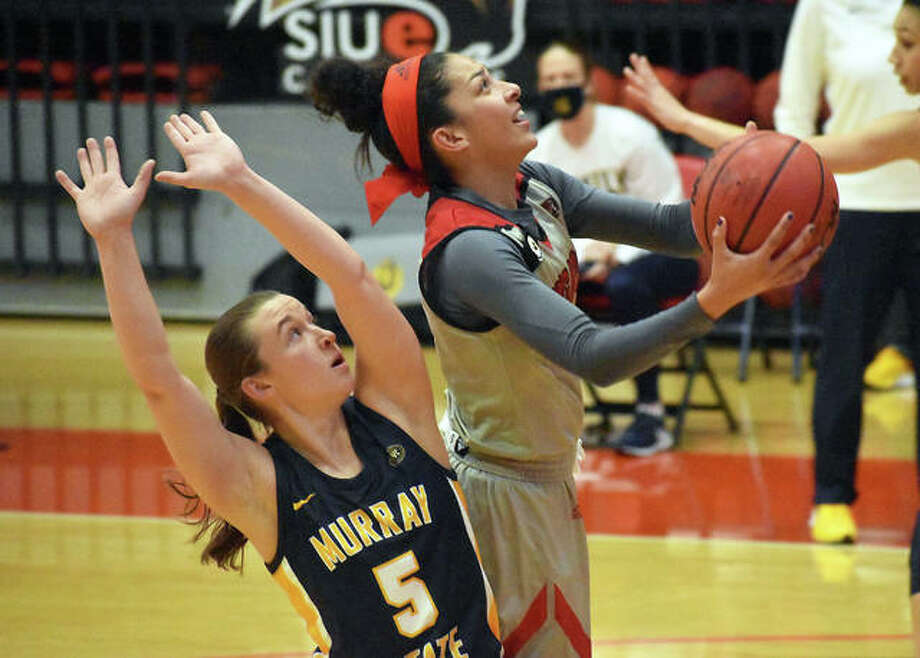 SIUE sophomore guard Tori Handley tries a contested shot in the lane in the second quarter of Saturday's game against Murray State inside First Community Arena in Edwardsville. Photo: Matt Kamp|The Intelligencer