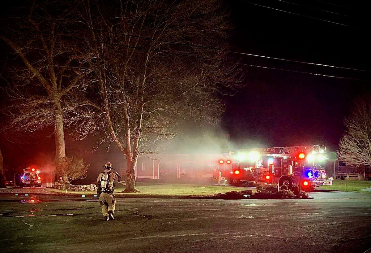 A structure fire on Hawley Road sent two people to the hospital on Sunday, Jan. 10.
