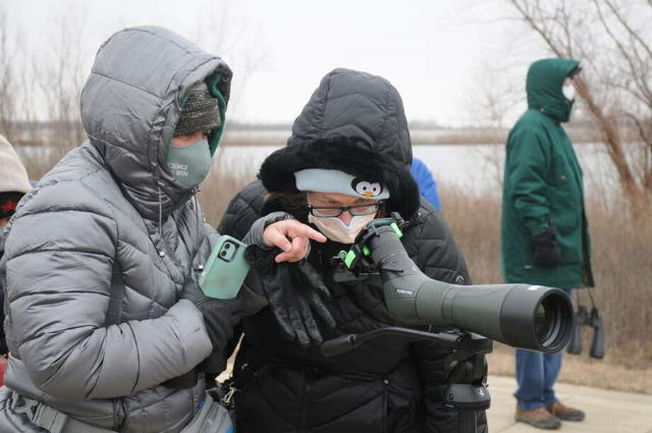 Visitors view birds of prey from afar during the Raptors at Riverlands event Saturday at the Audubon Center at Riverlands in West Alton. Michelle Wiegand at the center said people's fascination for raptors never seems to wane.