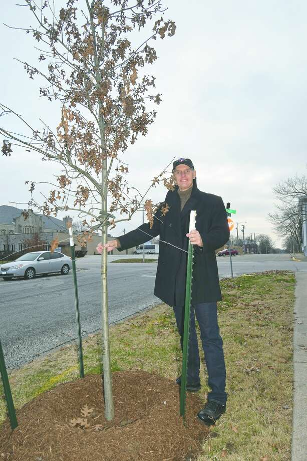 Mike Flynn stands by a recent planting made by the Jacksonville Tree Project. Photo: David Blanchette | Journal-Courier