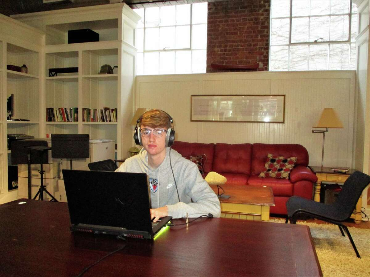 Cooper Vengrove of New Milford creating electronic music.