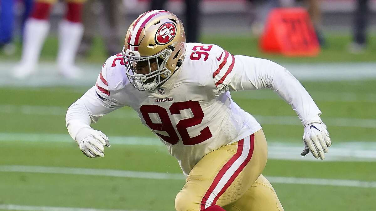 San Francisco 49ers defensive end Kerry Hyder (92) against the Arizona Cardinals during the first half of an NFL football game, Saturday, Dec. 26, 2020, in Glendale, Ariz. (AP Photo/Ross D. Franklin)