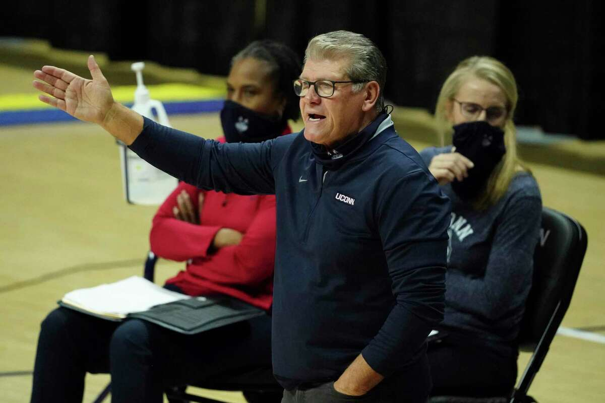 UConn coach Geno Auriemma tied Tennessee legend Pat Summitt for second on the all-time career wins list with the Huskies' victory on Saturday.
