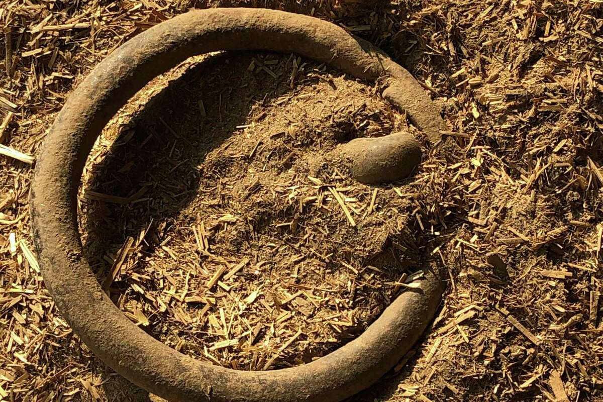 A rusted iron ring remains in the hangar long occupied by Kaavan.
