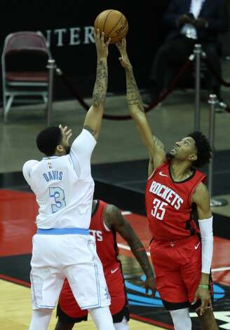Houston Rockets center Christian Wood (35) blocks a shot by Los Angeles Lakers forward Anthony Davis (3) during the fourth quarter of an NBA basketball game on Sunday, Jan. 10, 2021, at Toyota Center in Houston. Photo: Brett Coomer/Staff Photographer / © 2021 Houston Chronicle