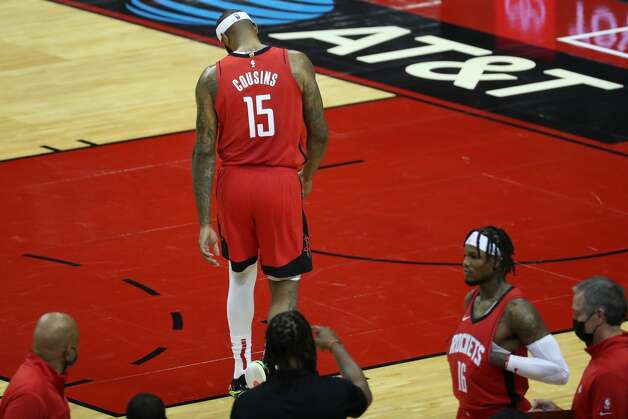 Houston Rockets center DeMarcus Cousins walks off the court after he was ejected for a flagrant foul on Los Angeles Lakers forward LeBron James during the second quarter of an NBA basketball game on Sunday, Jan. 10, 2021, at Toyota Center in Houston. Photo: Brett Coomer/Staff Photographer / © 2021 Houston Chronicle