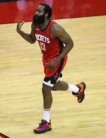 Houston Rockets guard James Harden (13) reacts after hitting a 3-pointer against the Los Angeles Lakers during the first quarter of an NBA basketball game on Sunday, Jan. 10, 2021, at Toyota Center in Houston. Photo: Brett Coomer/Staff Photographer / © 2021 Houston Chronicle