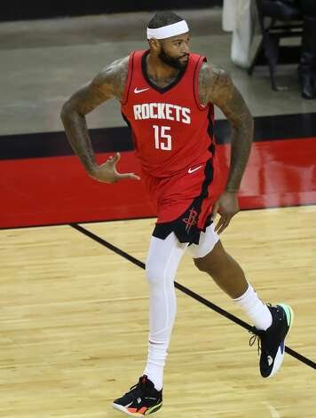 Houston Rockets center DeMarcus Cousins (15) reacts after hitting a 3-pointer against the Los Angeles Lakers during the first quarter of an NBA basketball game on Sunday, Jan. 10, 2021, at Toyota Center in Houston. Photo: Brett Coomer/Staff Photographer / © 2021 Houston Chronicle