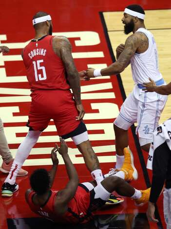 Los Angeles Lakers forward Markieff Morris (88) pushes Houston Rockets center DeMarcus Cousins (15) as they get into an altercation during the first quarter of an NBA basketball game on Sunday, Jan. 10, 2021, at Toyota Center in Houston. Morris was ejected from the game after the incident., Photo: Brett Coomer/Staff Photographer / © 2021 Houston Chronicle