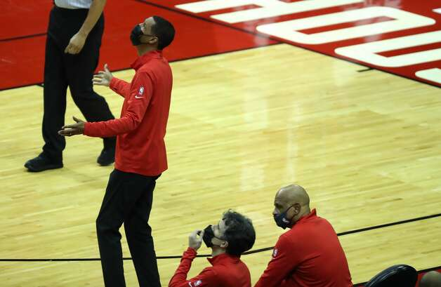 Houston Rockets head coach Stephen Silas argues a call during the fourth quarter of an NBA basketball game against the Los Angeles Lakers on Sunday, Jan. 10, 2021, at Toyota Center in Houston. The Lakers beat the Rockets 120-102. Photo: Brett Coomer/Staff Photographer / © 2021 Houston Chronicle