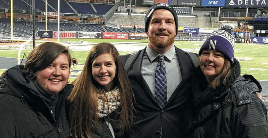 Jacksonville High School grad Blake Hance poses with his mother, Theresa Hance (right), and sisters Casey Hance and Megan Hance at Yankee Stadium in New York in this file photo. Photo: Photo Courtesy Theresa Hance