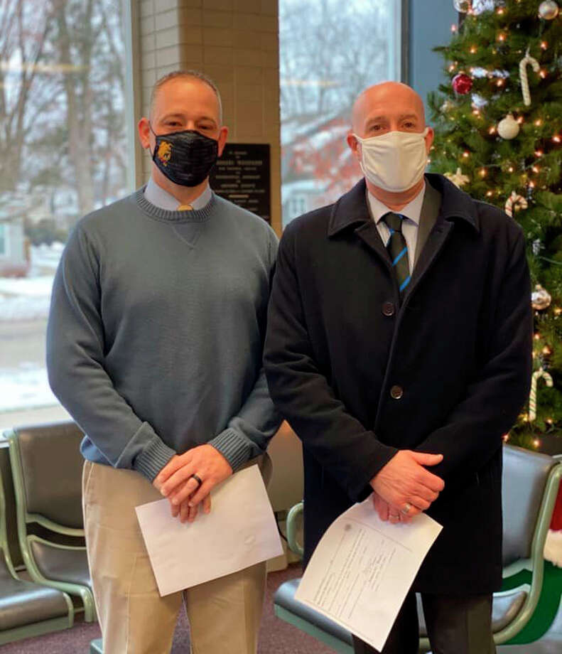 Mecosta County Undersheriff Mike Williams (left) and Sheriff Brian Miller (right) pose for a picture after being sworn into office. Both took the Oath of Office on Dec. 21. Photo: Courtesy Photo
