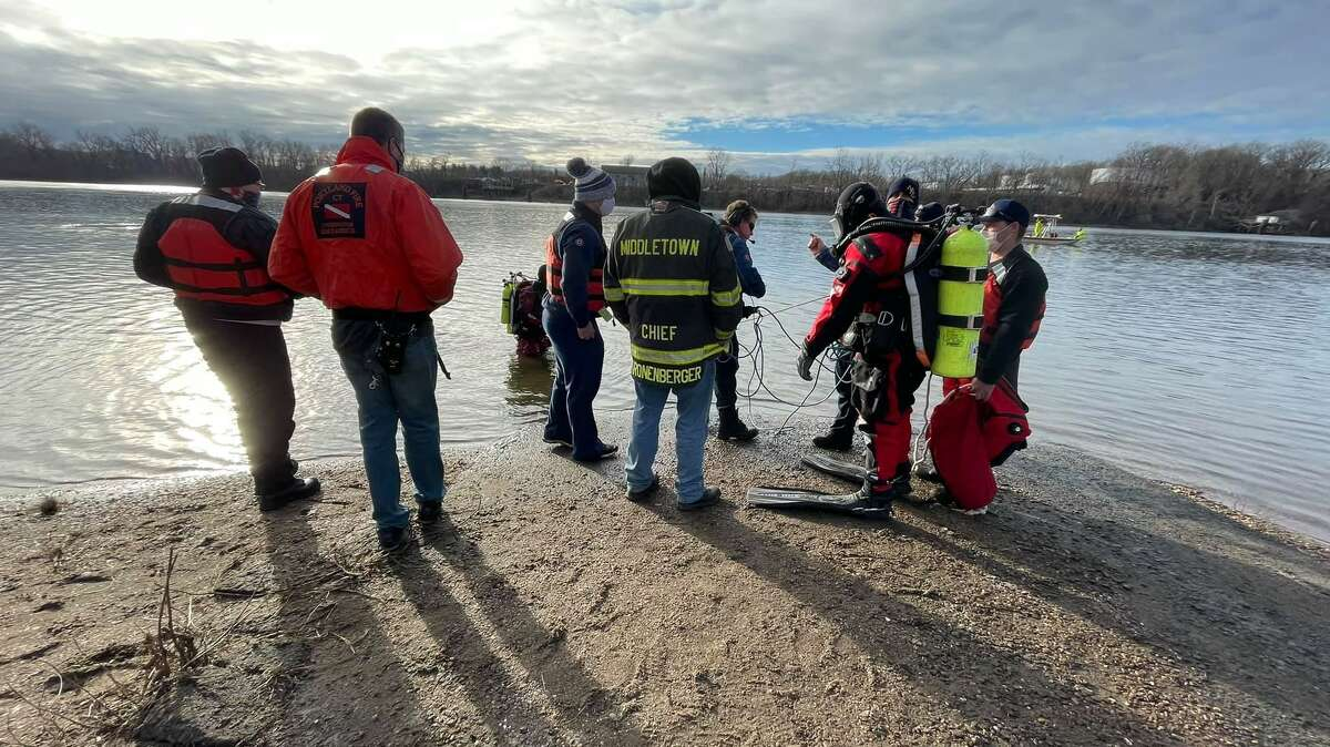 Crews at the scene on the Connecticut River in Glastonbury, Conn., on Saturday, Jan. 9, 2020.