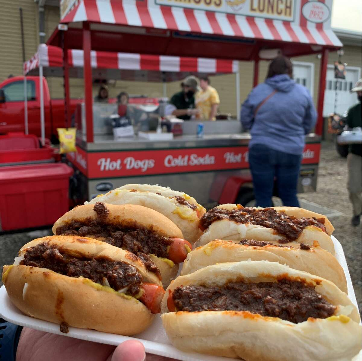 One of the most well-known handheld meals in the Capital Region, Famous Lunch's hot dogs. These were eaten at a stand at Windy Acres Farms.