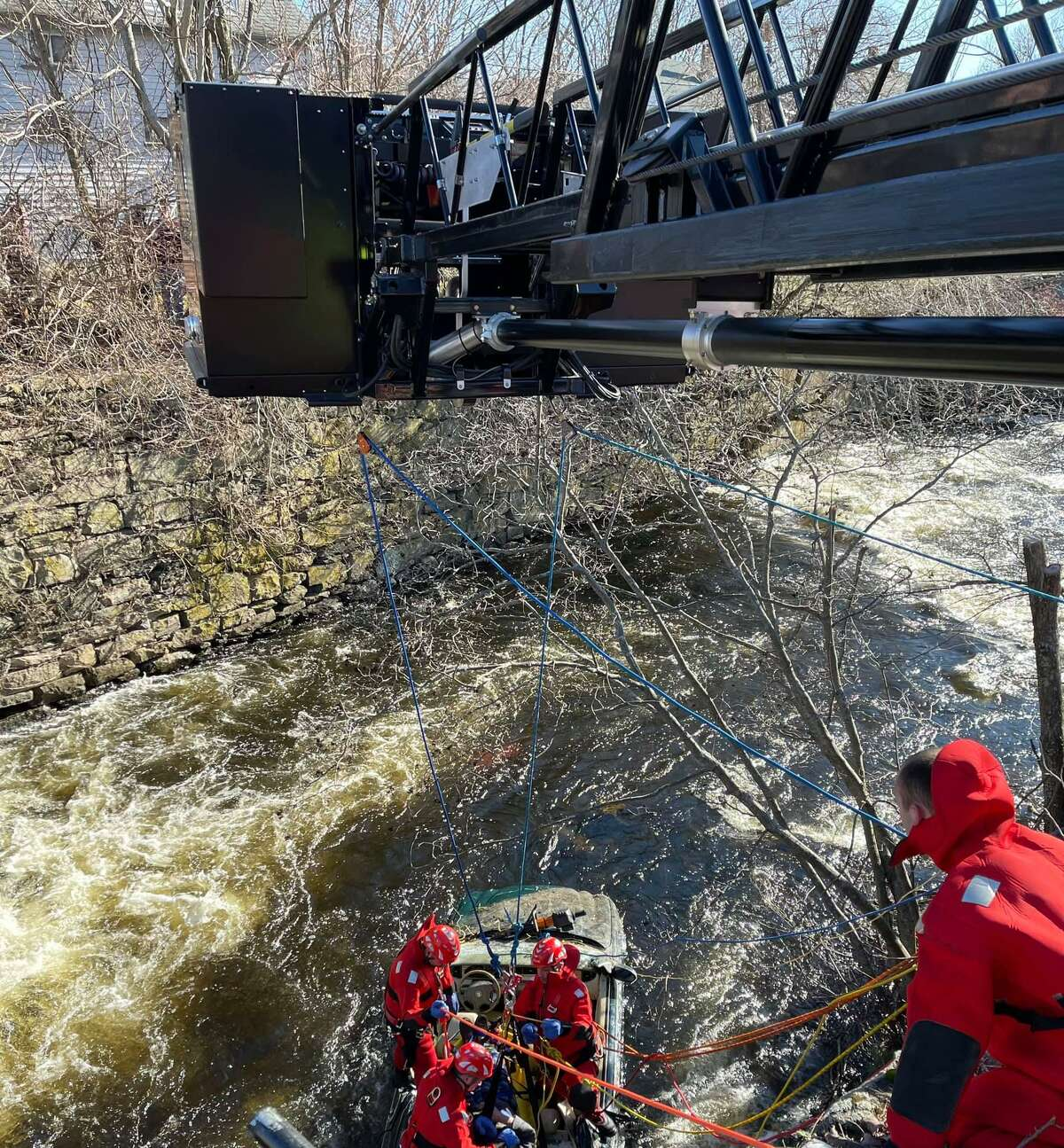 Crews on scene for a technical rescue at the File Mile River in Killingly, Conn., on Saturday, Jan. 9, 2021.