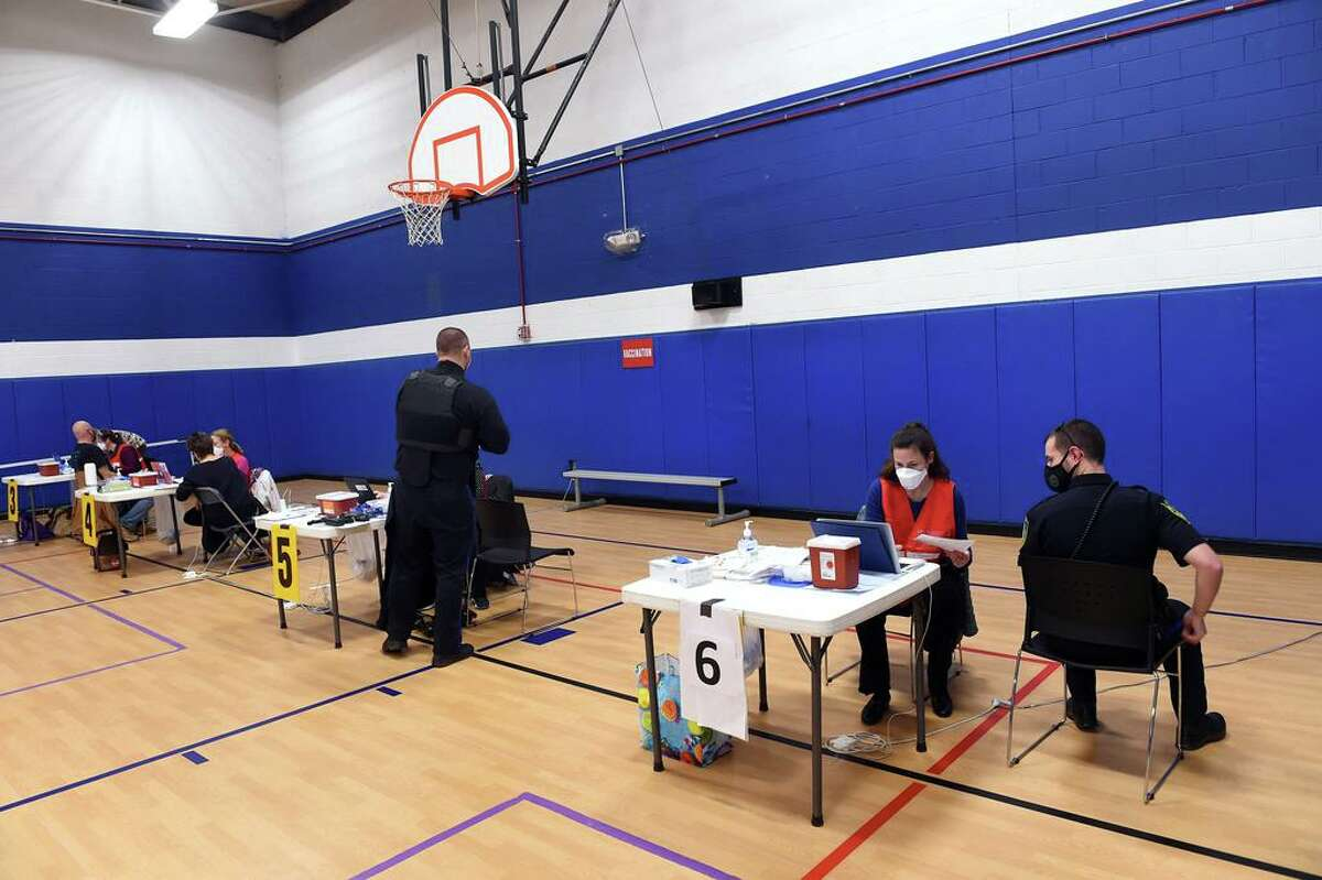 The East Shore District Health Department along with the Madison and Guilford Health Departments vaccinated 130 EMS and first responders from the towns of Madison, Guilford, Branford, North Branford and East Haven at the Madison Town Campus gymnasium on January 6, 2021 following the vaccination of 200 the previous week.