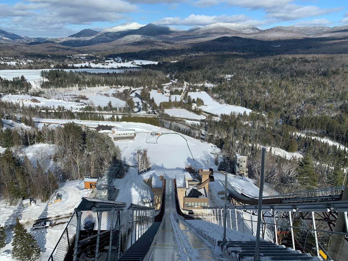 A gondola ride can bring you up to ski jumps in Lake Placid.