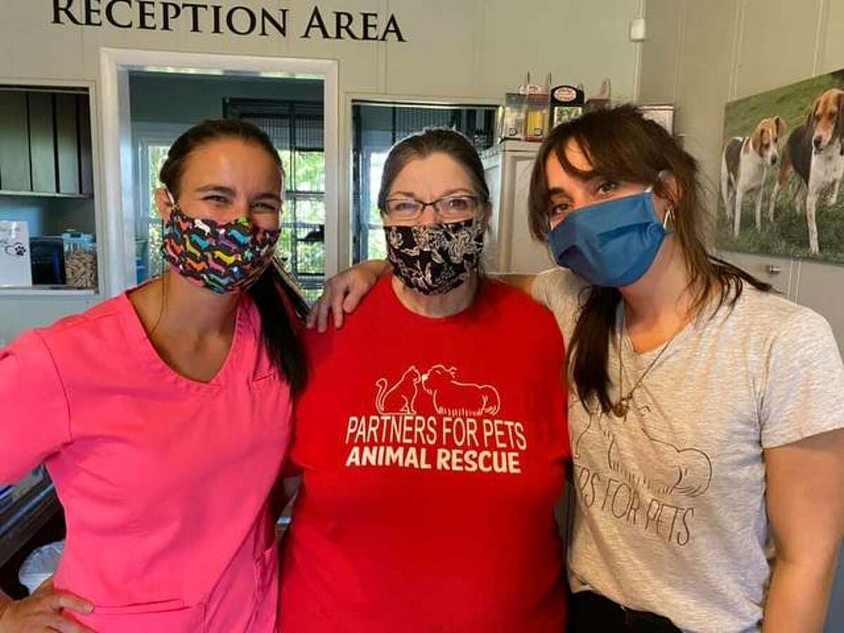 Left to right, Partners for Pets Shelter veterinarian Dr. Lindsey Gammon, director Erika Pratte and volunteer Joyce Grotefendt assist during a curbside vaccine and microchip clinic for members of the community.