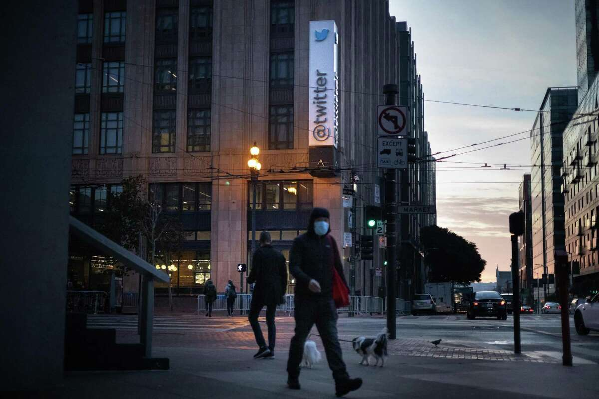 Twitter's headquarters on Market Street on Sunday, Jan. 10, 2021 in San Francisco, Calif.