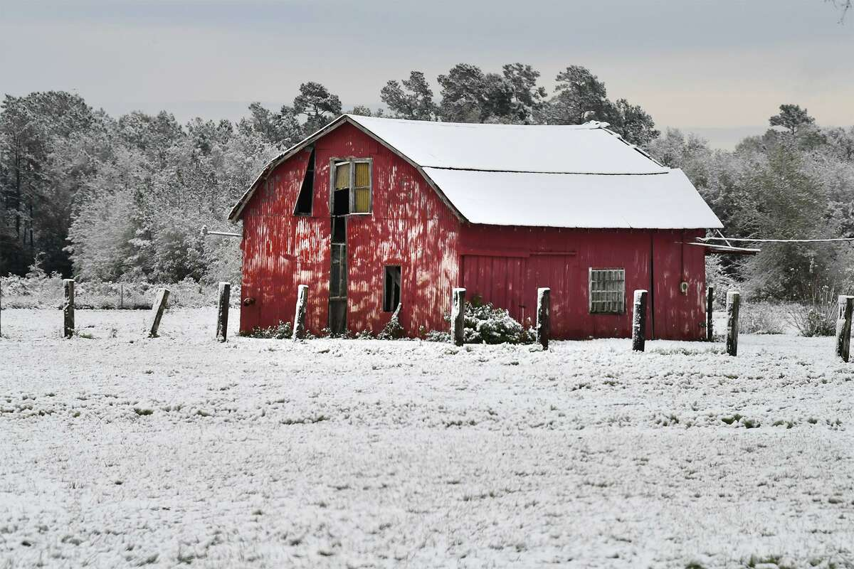 A barn covered in snow in Beaumont after a snowstorm in 2017.