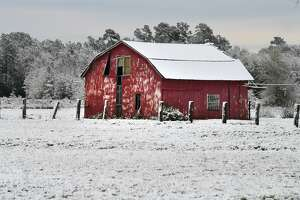 A barn covered in snow in Beaumont on Friday.  Photo taken Friday, December 08, 2017 Guiseppe Barranco/The Enterprise