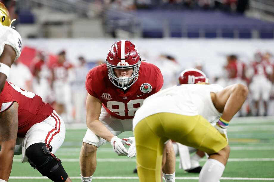 Major Tennison plays a lot on special teams for the Crimson Tide. Photo: Collegiate Images/Collegiate Images Via Getty Imag / 2021 Collegiate Images