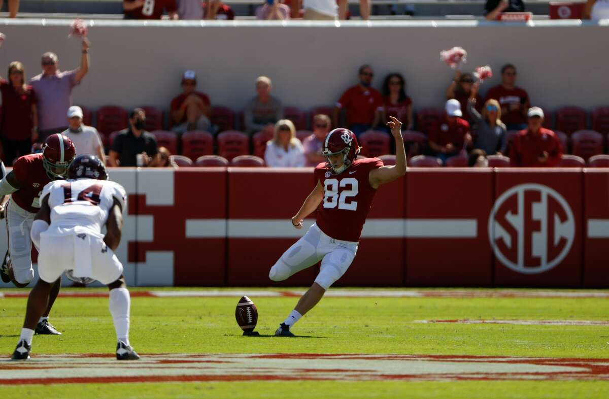 Chase Allen handles some of the kickoffs for Alabama.