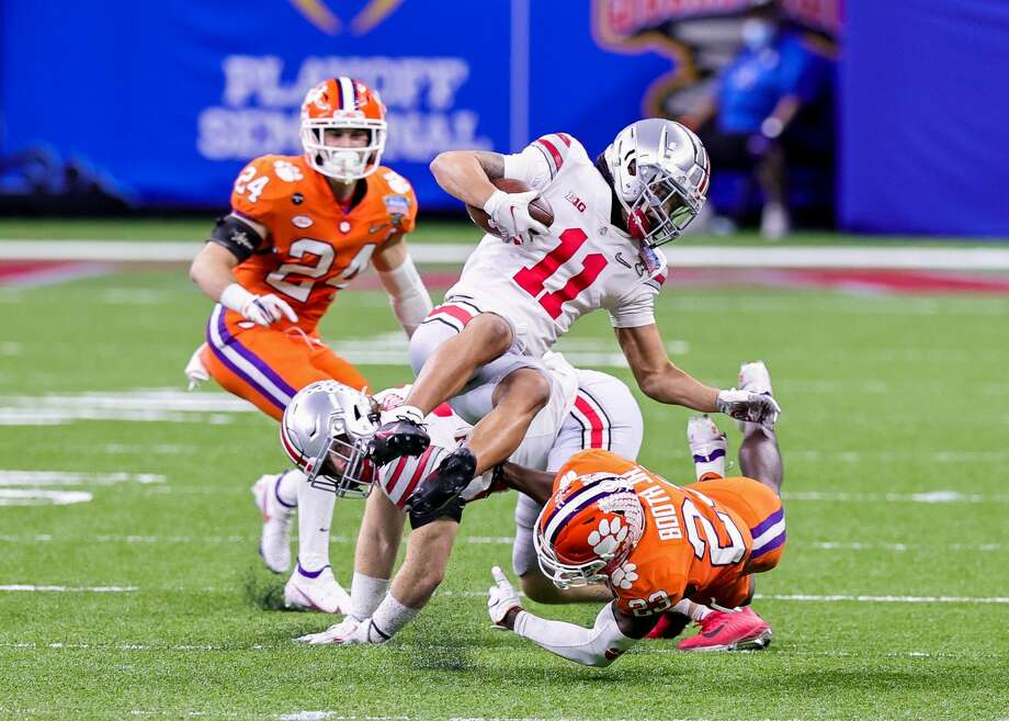 Jaxon Smith-Njigba had two catches against Clemson last week. Photo: Icon Sportswire/Icon Sportswire Via Getty Images / ©Icon Sportswire (A Division of XML Team Solutions) All Rights Reserved