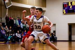 Calvary Baptist's Ian Theaker makes a move during a Feb. 21, 2020 game against State Line Christian.