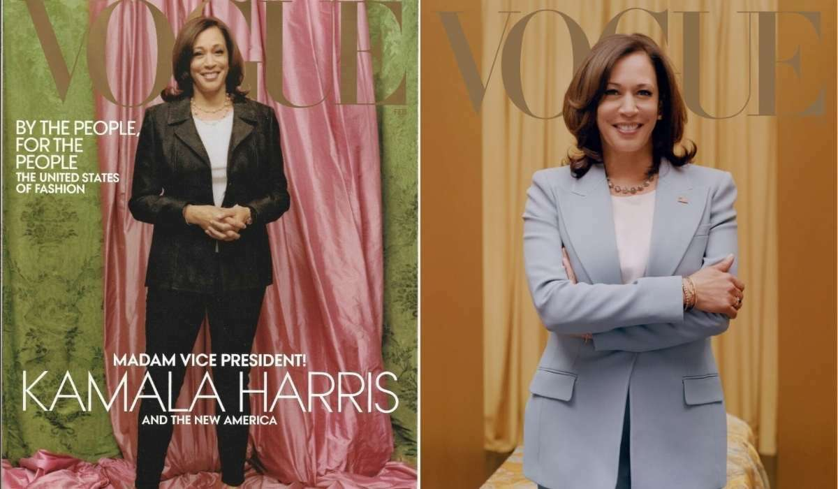 Vice President-elect Kamala Harris appears on the cover of Vogue. The first photo is for the print edition of the magazine, the second for the digital version.