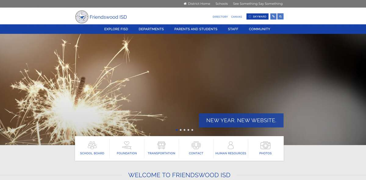 A redesigned website for the Friendswood school district aims to make it easier and simpler for visitors, including parents and students, to access important information and the district's social media pages.