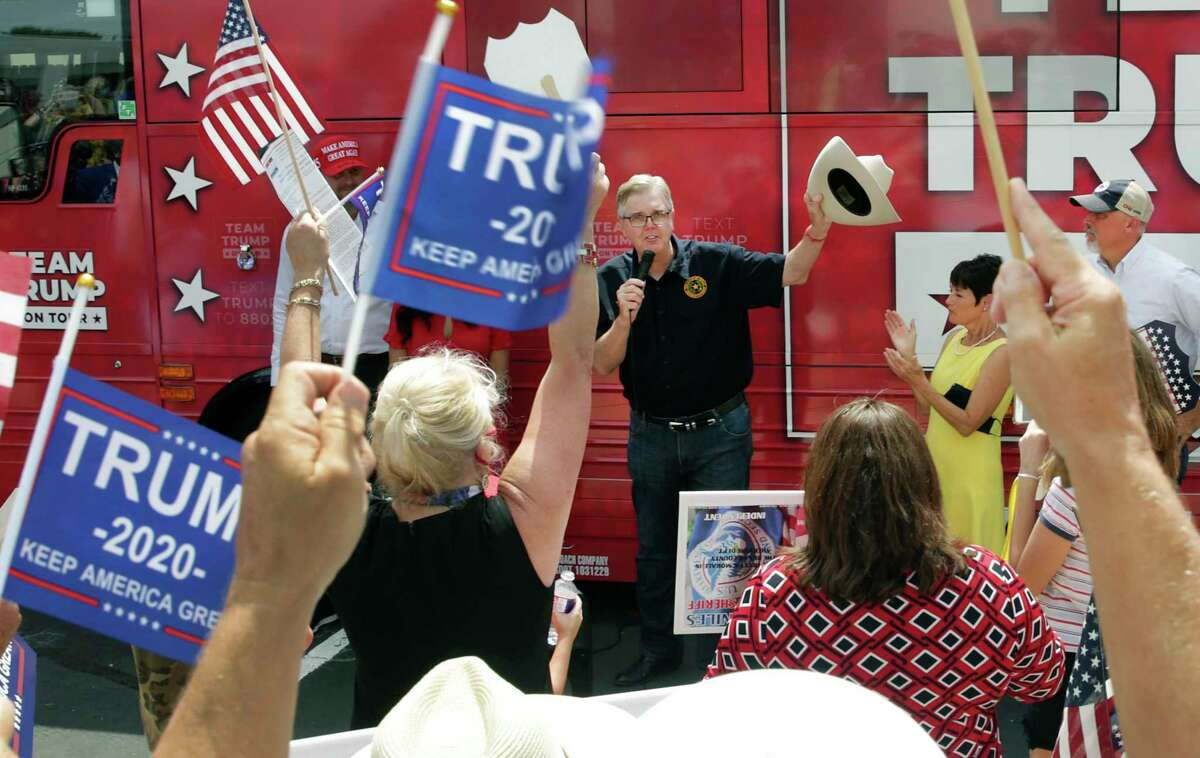 Lt. Gov. Dan Patrick speaks to Trump supporters as the Trump campaign bus made a stop on the north side in San Antonio on Thursday, Sept. 3, 2020.