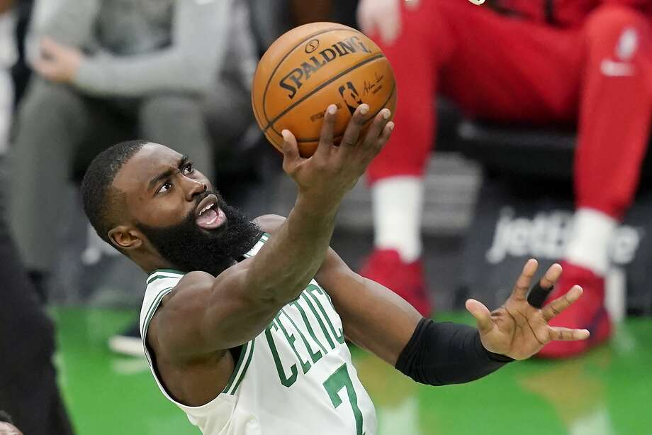 Jaylen Brown was among the seven Boston Celtics players ruled out of Sunday night's game for coronavirus-related reasons. Photo: Elise Amendola, Associated Press