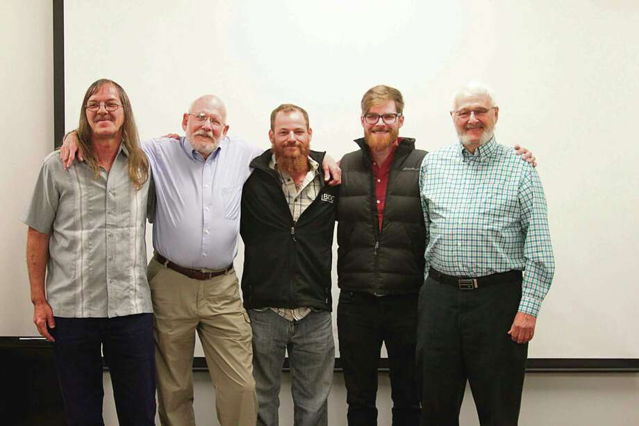 Frankfort resident Kim Fairchild was rescued from a near drowning on the Big Manistee River on June 6, 2019 when fishing with his friend Rick Herman (far right). The three who pulled the non-breathing Fairchild from the water and revived him were Troy Ance, Ben Blostein and Steven Padilla. The three were honored by then-Manistee County Sheriff John O'Hagan for their heroic act. Pictured (from left to right) are Ance, Fairchild, Blostein, Padilla and Herman. (File photo)