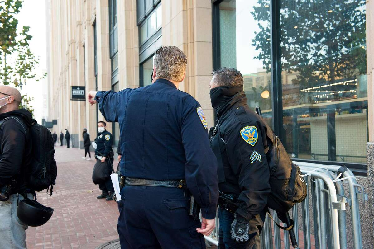 Police gathered out front of the Twitter headquarters on Monday, January 11, 2021.
