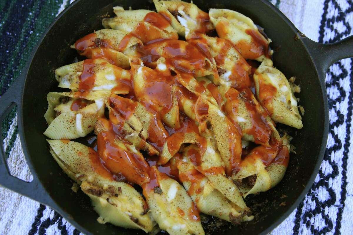 Cheesy, Chopped Barbecue-Stuffed Pasta Shells