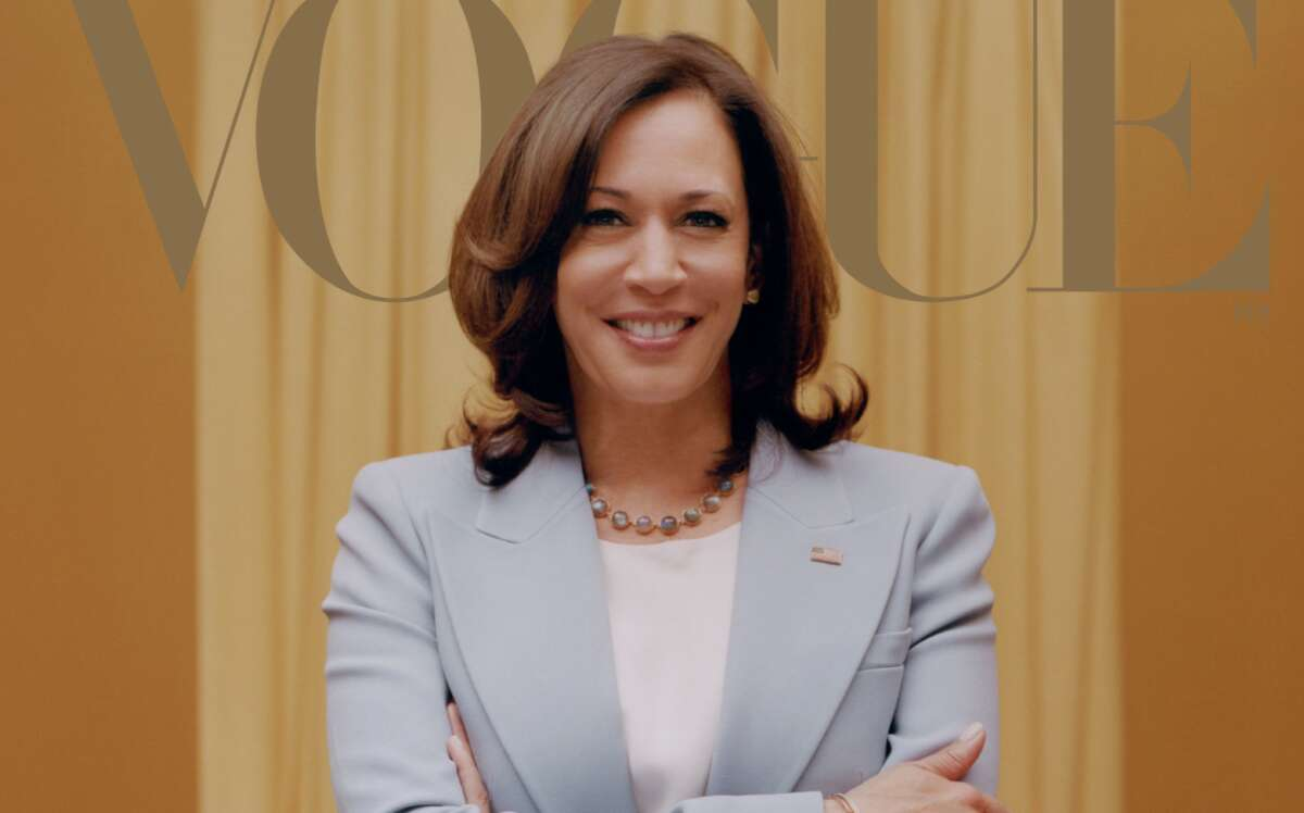Kamala Harris' cover photos in February's Vogue are stirring up controversy on social media.