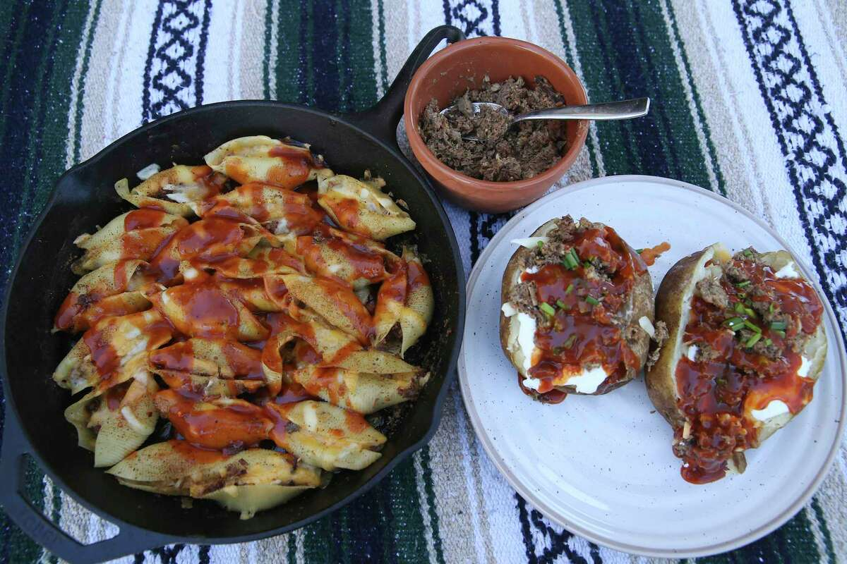 Cheesy, Chopped Barbecue-Stuffed Pasta Shells, left, and Chopped Barbecue-Topped Loaded Baked Potatoes