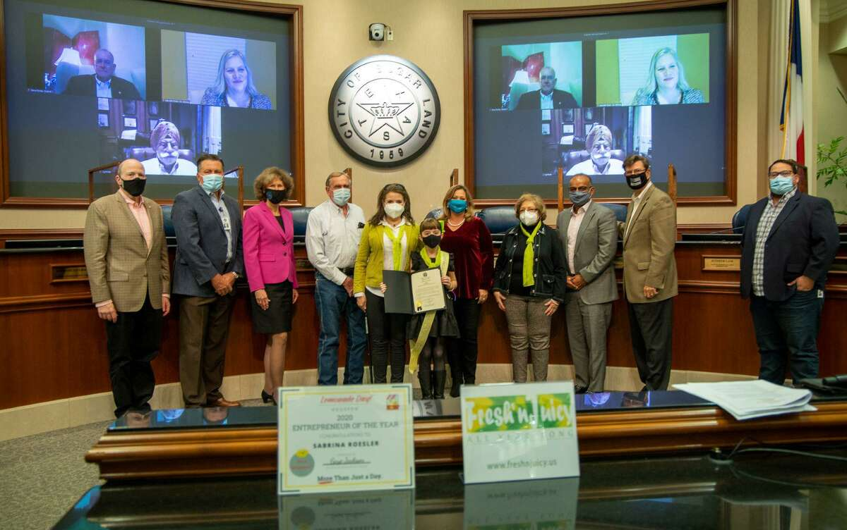 Sabrina Roesler, pictured above with her mother, grandmother and grandfather, received a certificate of recognition from the City of Sugar Land on Tuesday, Jan. 5, 2021.