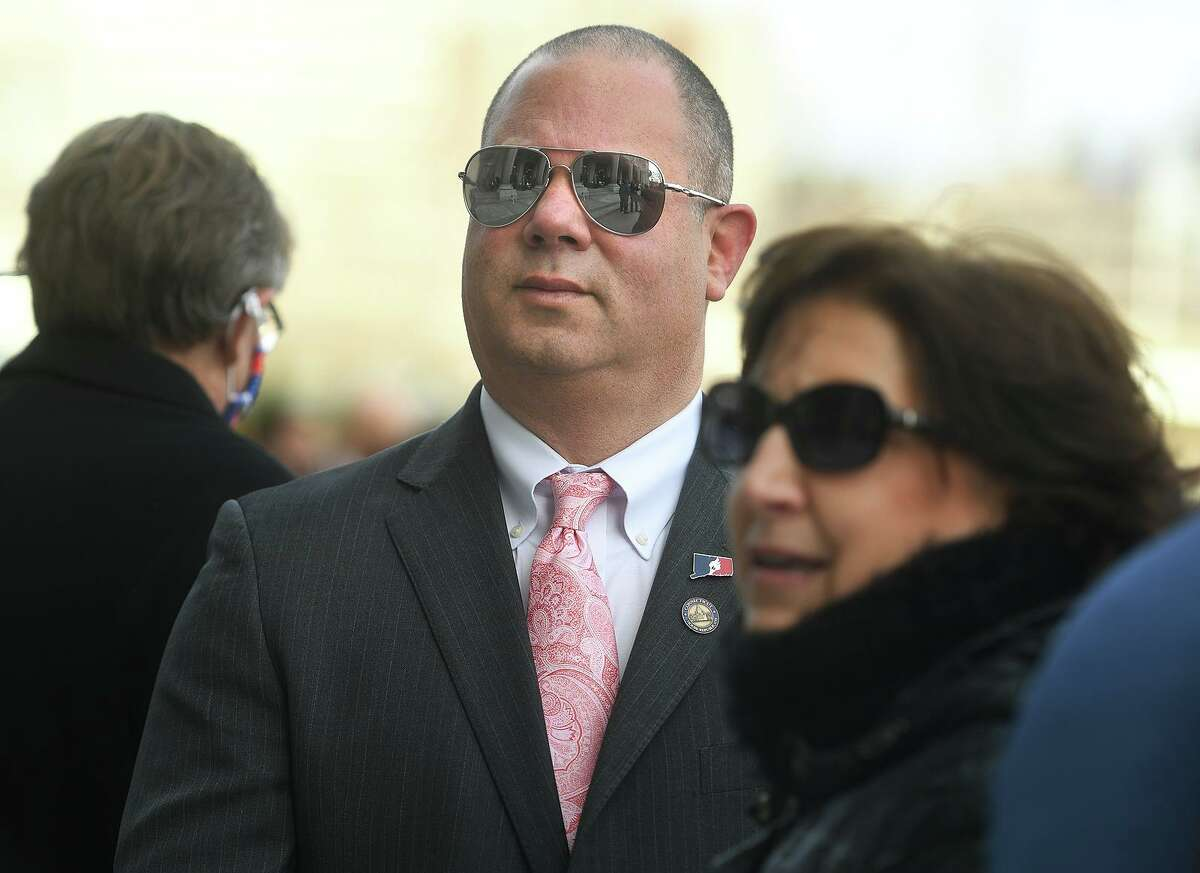 Rep. Craig Fishbein, R-Wallingford, went maskless for the recent swearing-in ceremony on the steps of the State Capitol.