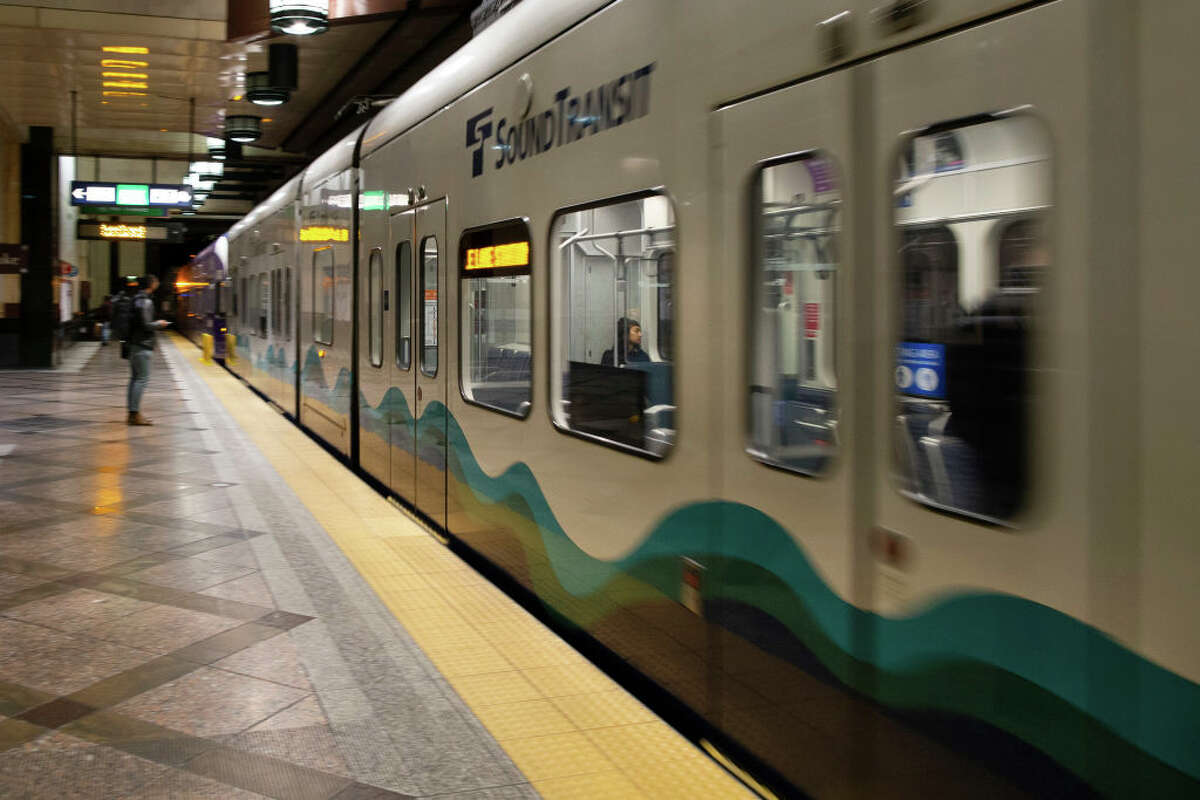 Sound Transit Link Light Rail has less passengers than normal during the morning commute on March 16, 2020 in Seattle, Washington.