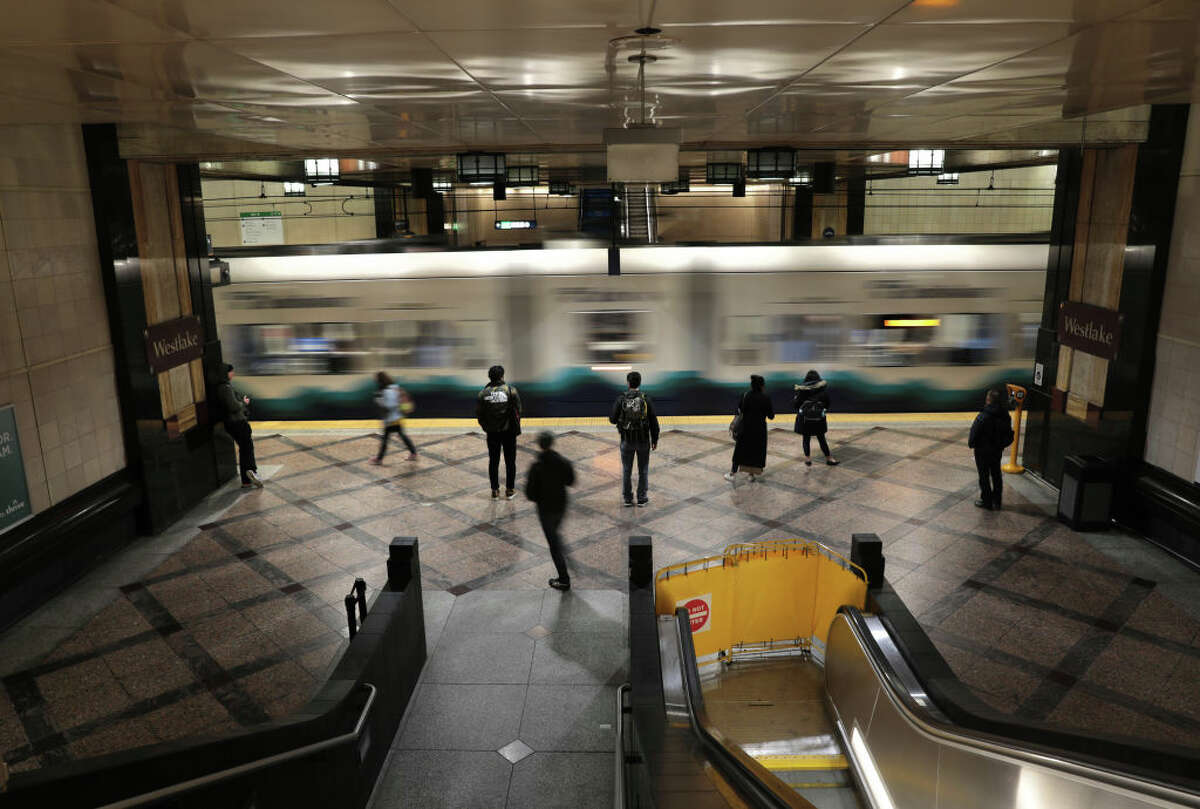 SEATTLE, WASHINGTON - MARCH 12: A light rail station is virtually empty at rush hour due to coronavirus fears on March 12, 2020 in Seattle, Washington. Major employers like Amazon and many others have asked employees to work from home to help slow the spread of COVID-19. (Photo by John Moore/Getty Images)