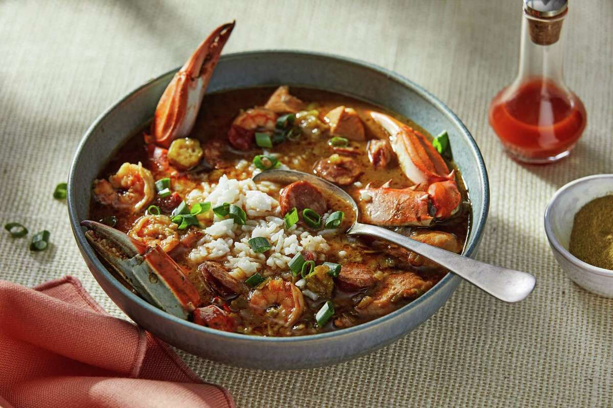 Chicken, Sausage and Shrimp Gumbo.