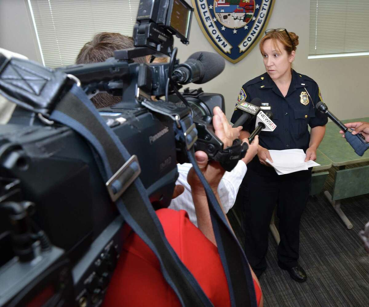 Now retired Middletown police Lt. Heather Desmond speaks to the press in July 2014.