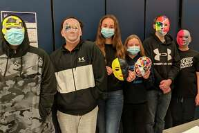 """Amanda Mobley's art students at Brethren Middle and High School created masks that will be part of the """"Stay Safe Face Mask"""" exhibit in Hardy Hall at the Ramsdell Regional Center for the Arts throughout February. (Courtesy photo)"""