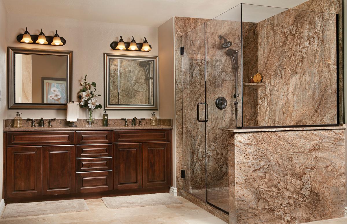 The Tahoe granite complete bathroom remodel by Re-Bath.